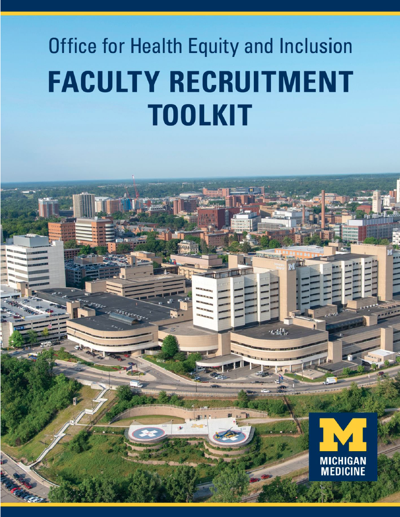 OHEI Faculty Recruitment Toolkit cover image - image of Ann Arbor.