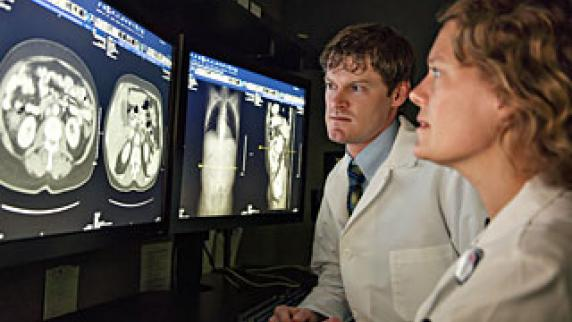 Radiologists reviewing film
