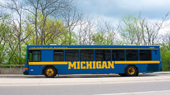 Michigan blue bus